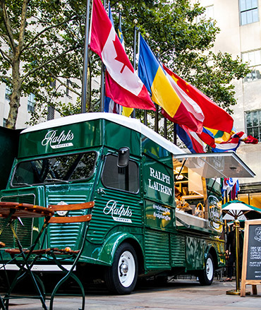 Green Ralph's Coffee truck in Rockefeller Center