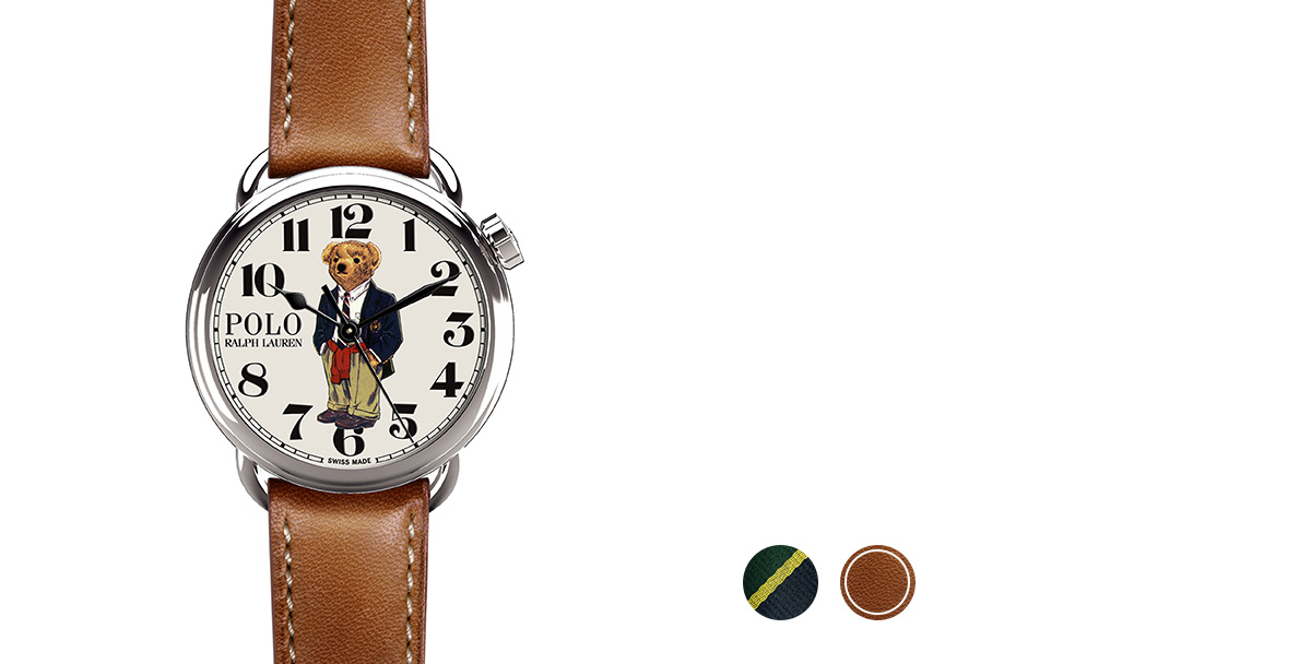 Watch with grosgrain, necktie-inspired strap & printed bear in blazer