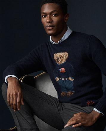 Man in American flag Polo Bear sweater