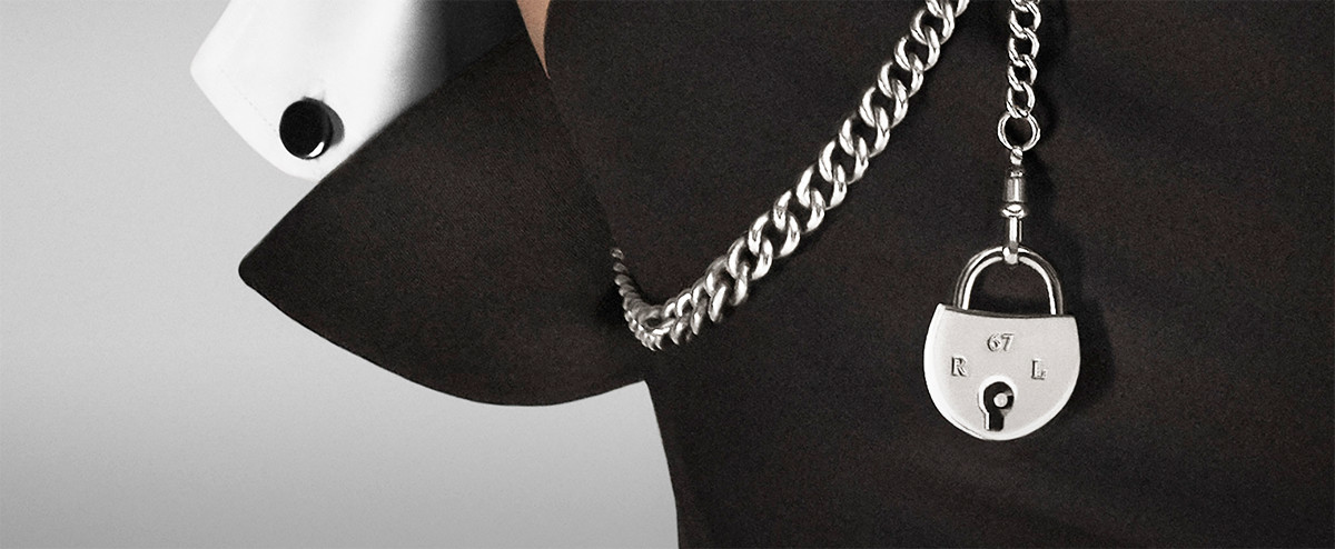 Close-up image of pocket chain with signature RL lock