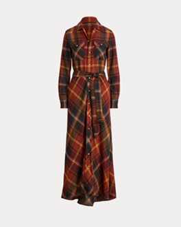 Belted floor-length shirtdress in autumn-hued plaid pattern
