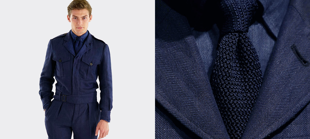 Model in heavyweight dark-blue button-down shirt with shoulder epaulets