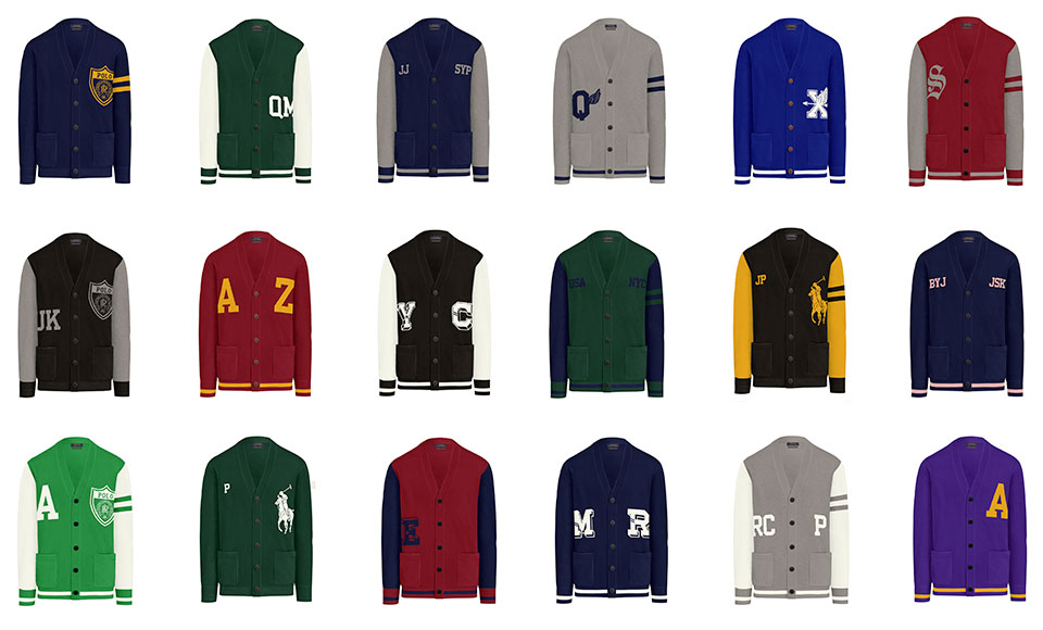 Grid of cardigans in various hues & with custom graphics