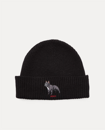 Black knit hat with french bulldog motif at front