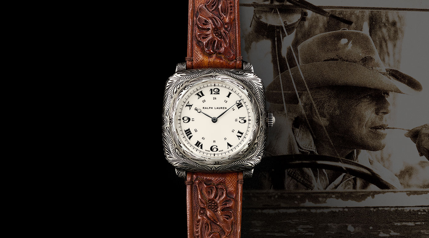 Watch with intricate engraving & hand-tooled leather strap