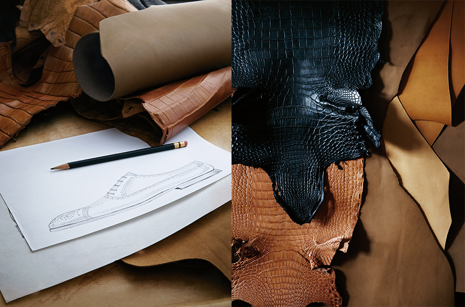 The journey begins with a sketch. Then every piece of leather is carefully examined for imperfections.
