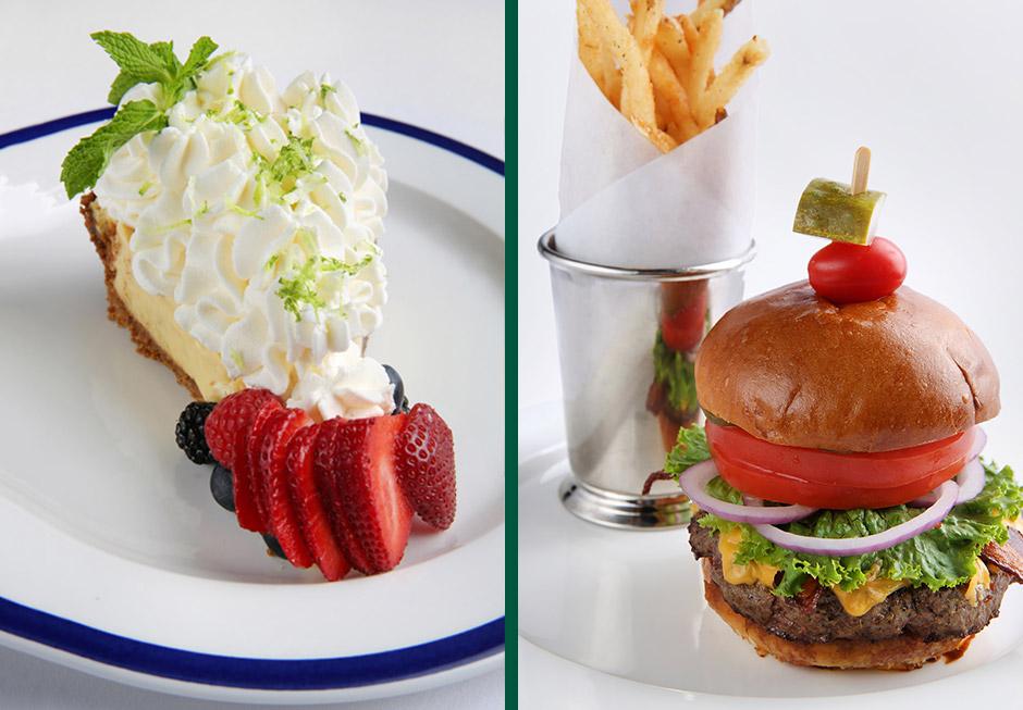 Slice of key lime pie & burger & fries