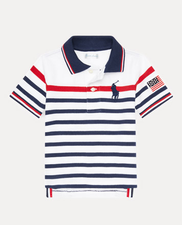 299005787dab Girls  Dresses. White Polo shirt with navy and red stripes.