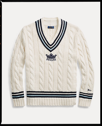 Cricket sweater with crown motif at center front