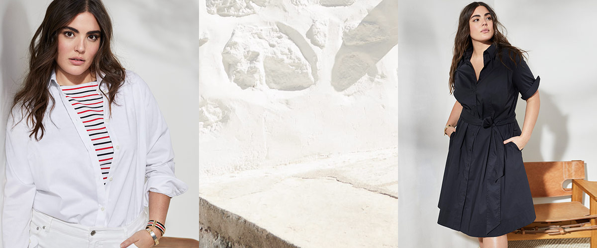 Woman in striped tee   white shirt   woman in belted dress. Lauren Ralph  Lauren cd6970af5f0