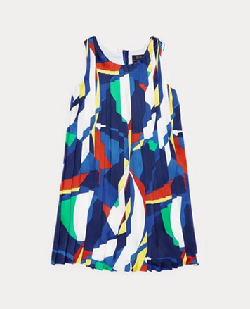 Swing dress with abstract sailboat print all over.
