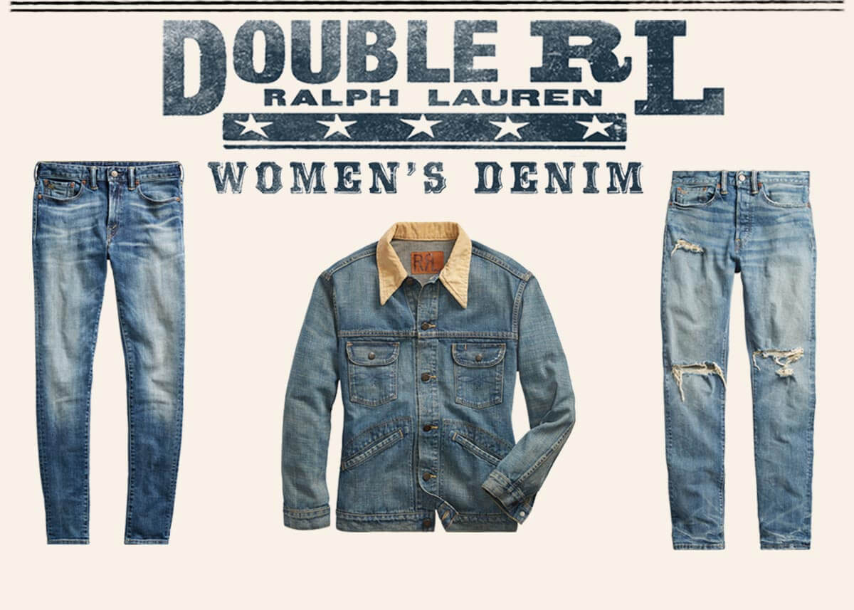 Two styles of Double RL jeans & a denim jacket