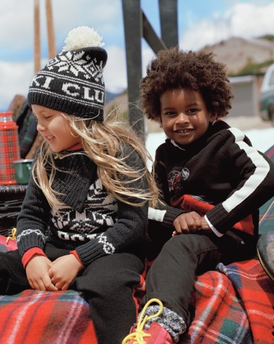 Kids in black & white holiday styles