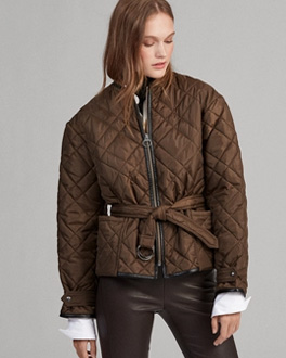 Brown cropped bomber jacket with zip front and self-belt