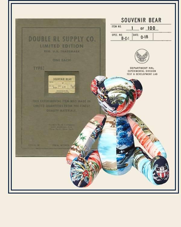 Stuffed teddy bear with Hawaiian-inspired print