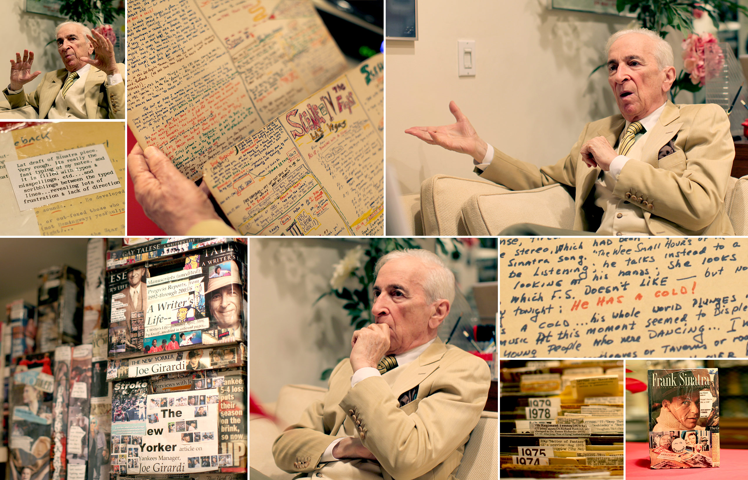 "Scenes from the ""bunker"" in the basement of Talese's Upper East Side townhouse, where the legendary author works and meticulously catalogues his notes and past media coverage"