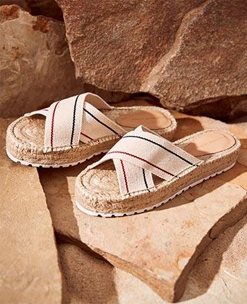 Striped webbed cotton espadrille sandal