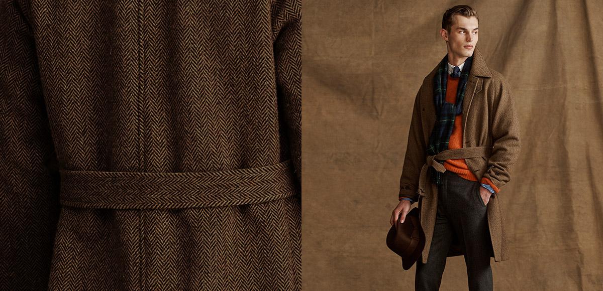 Tan & brown herringbone tweed belted coat