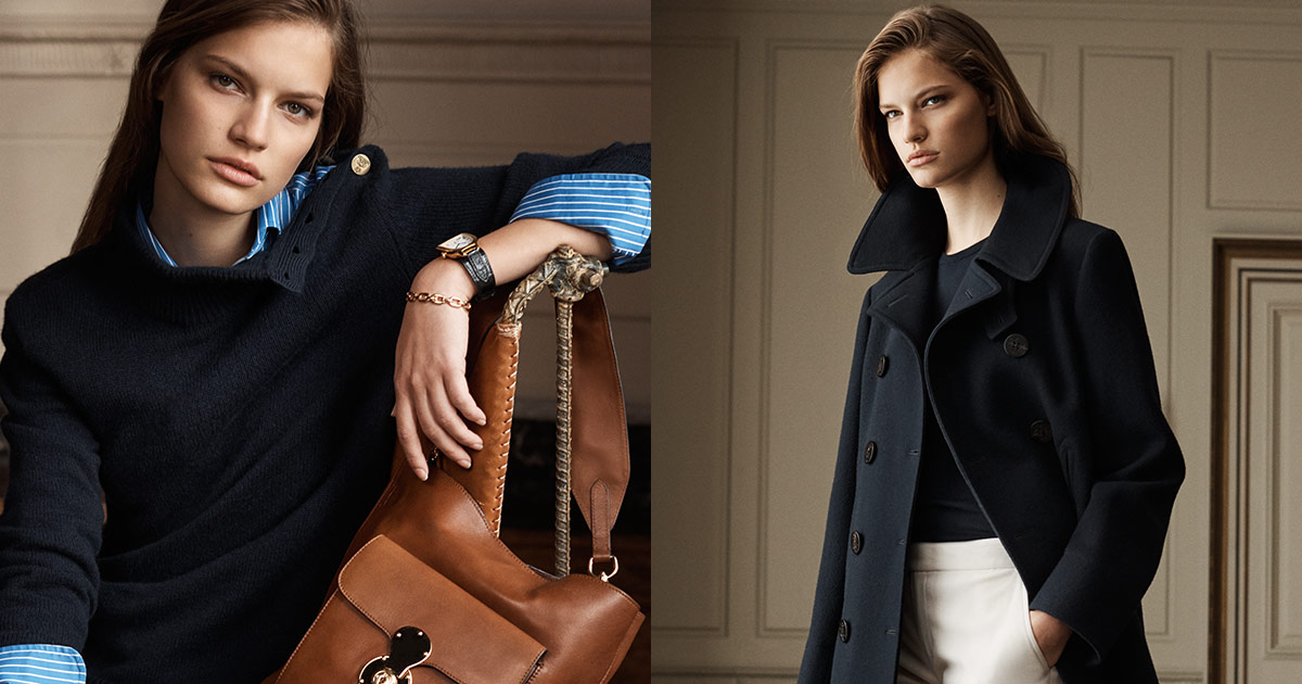 Woman in navy cowlneck sweater; woman in navy peacoat