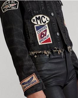 Frayed denim moto jacket with patches