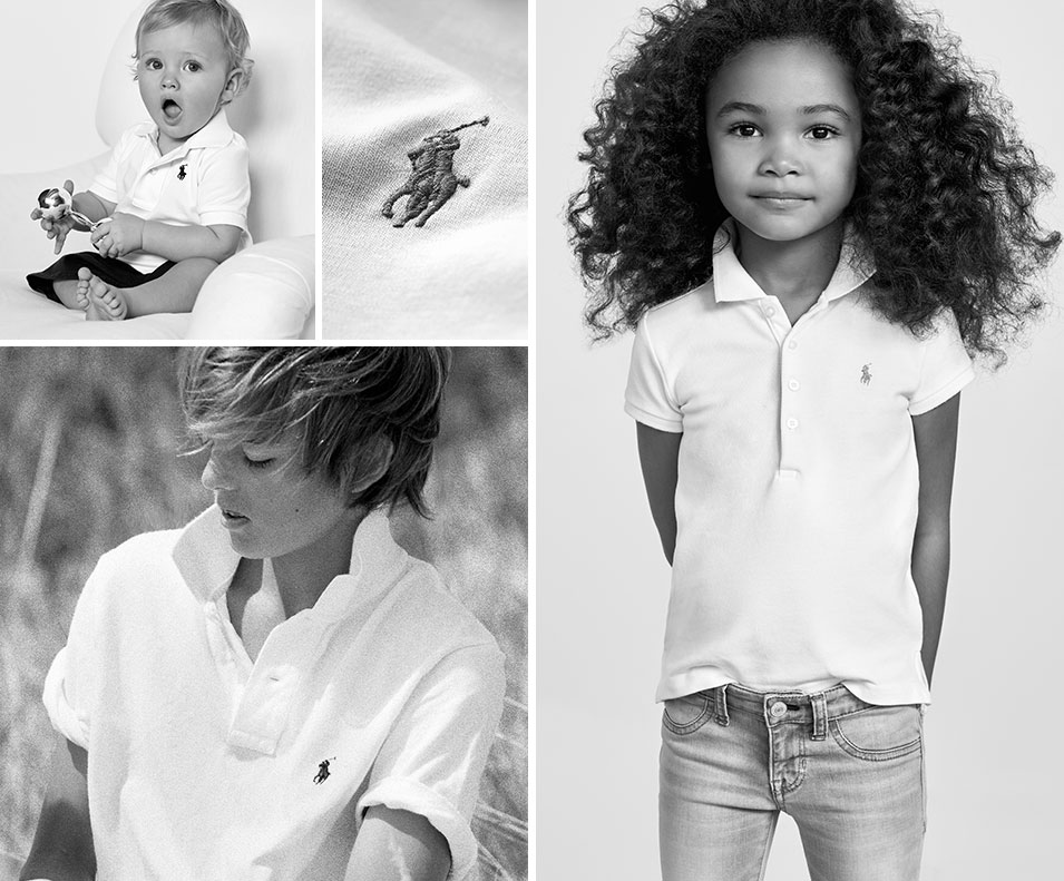 Greyscale collage of kids and baby in customized Polo shirts