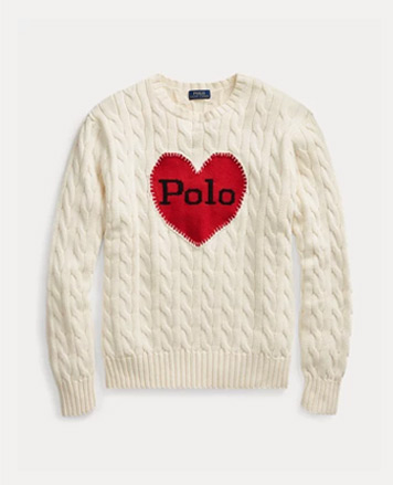 White sweater with red Polo heart motif at front center