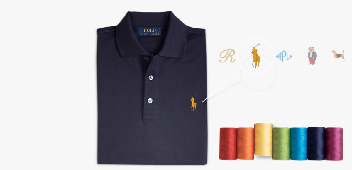 566467e5 Animated navy Polo shirt & different embroidery options at left chest