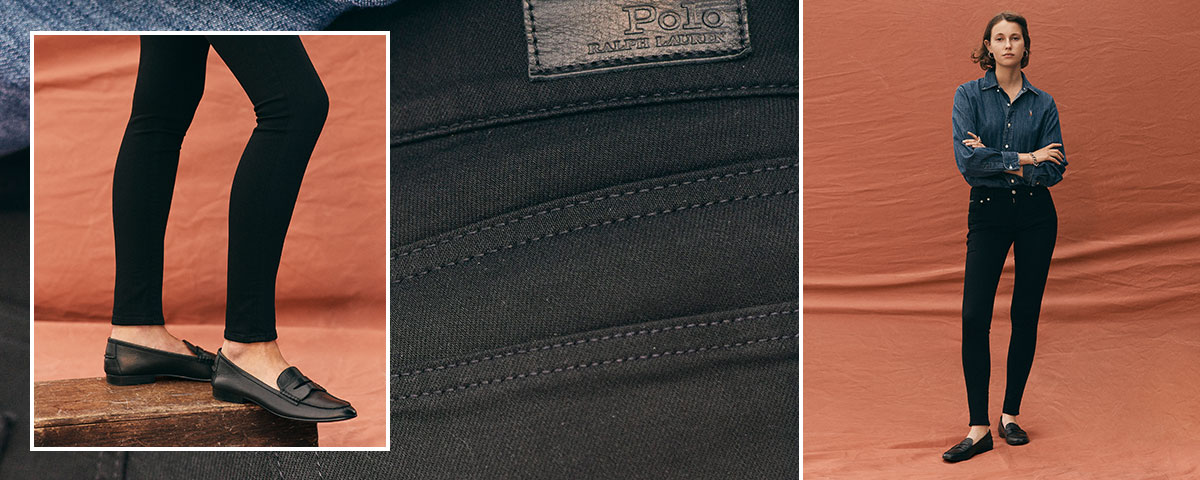 Close-up of Tompkins Superskinny jean; woman wears Polo denim.