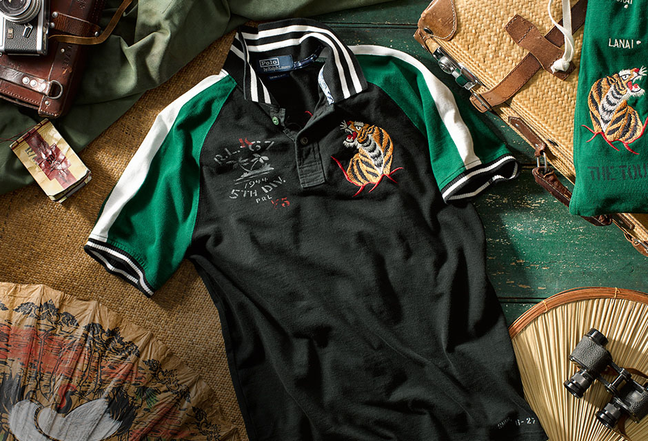 Camo-print Polo shirt featuring Air Force–inspired patches