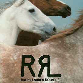 Double RL logo & image of white, brown & speckled horses