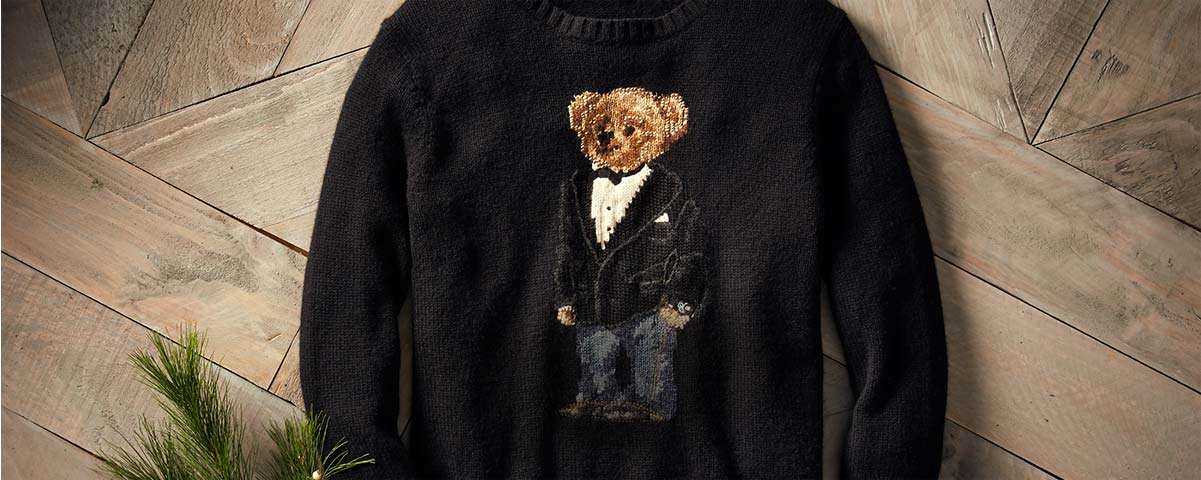 Black sweater with Polo Bear in tuxedo jacket & denim at front