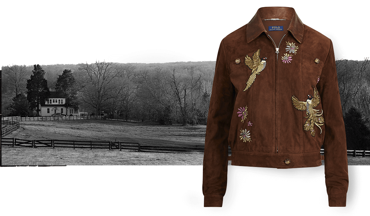Suede jacket with full-zip front & bird & floral embroidery