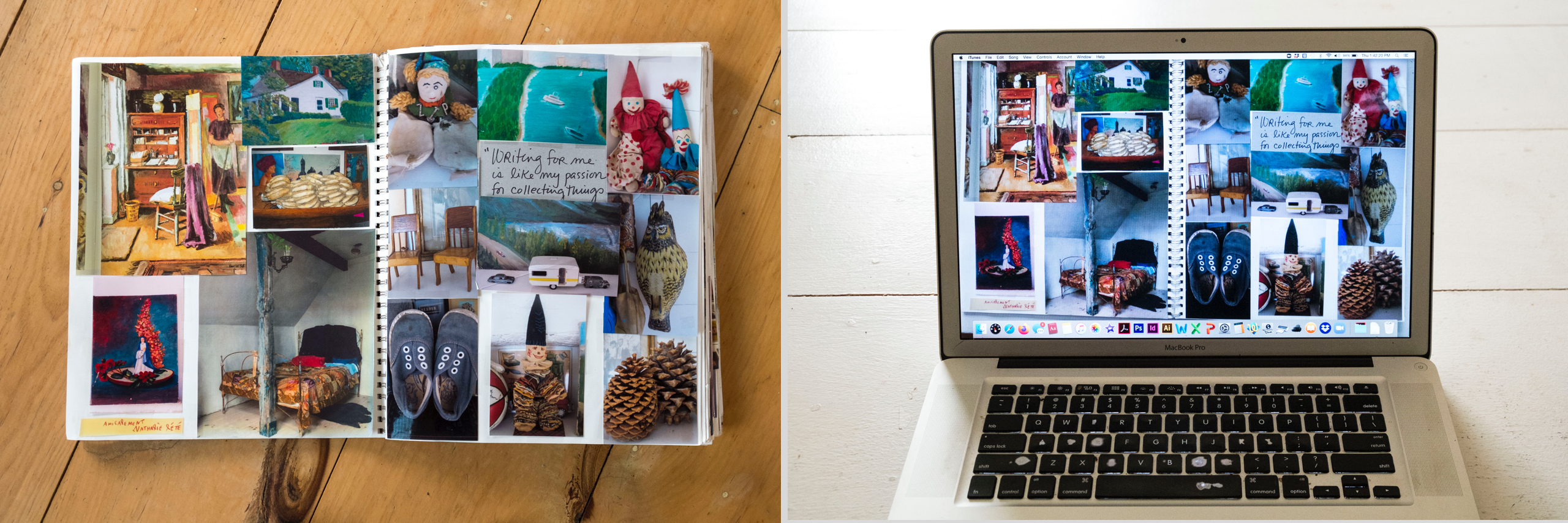 <em>Left:</em> A flea market collector's scrapbook of found treasures collaged into an oversize scrapbook. (Guess whose?); <em>Right:</em> Create a digital collage and save it on your computer's desktop. Personalize it with a handwritten message and change it often
