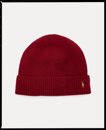 Red knit hat with Polo Pony at fold-over brim