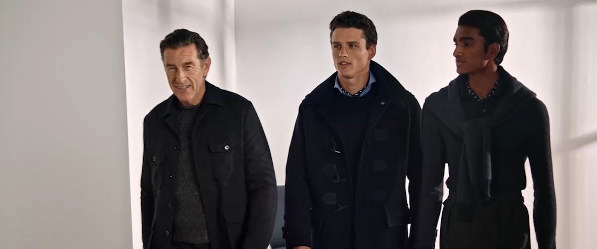 Men in grey & navy sweaters & coats