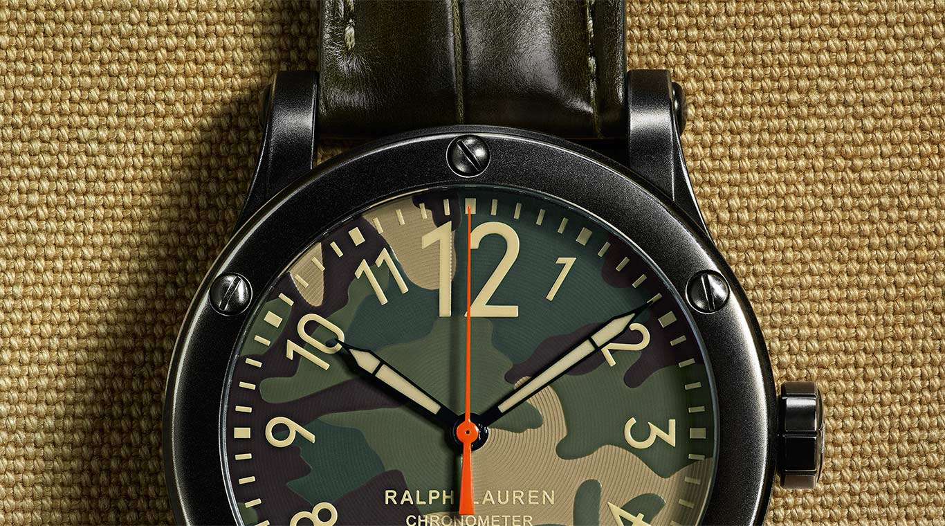 Close-up of rugged Safari watch case and dial