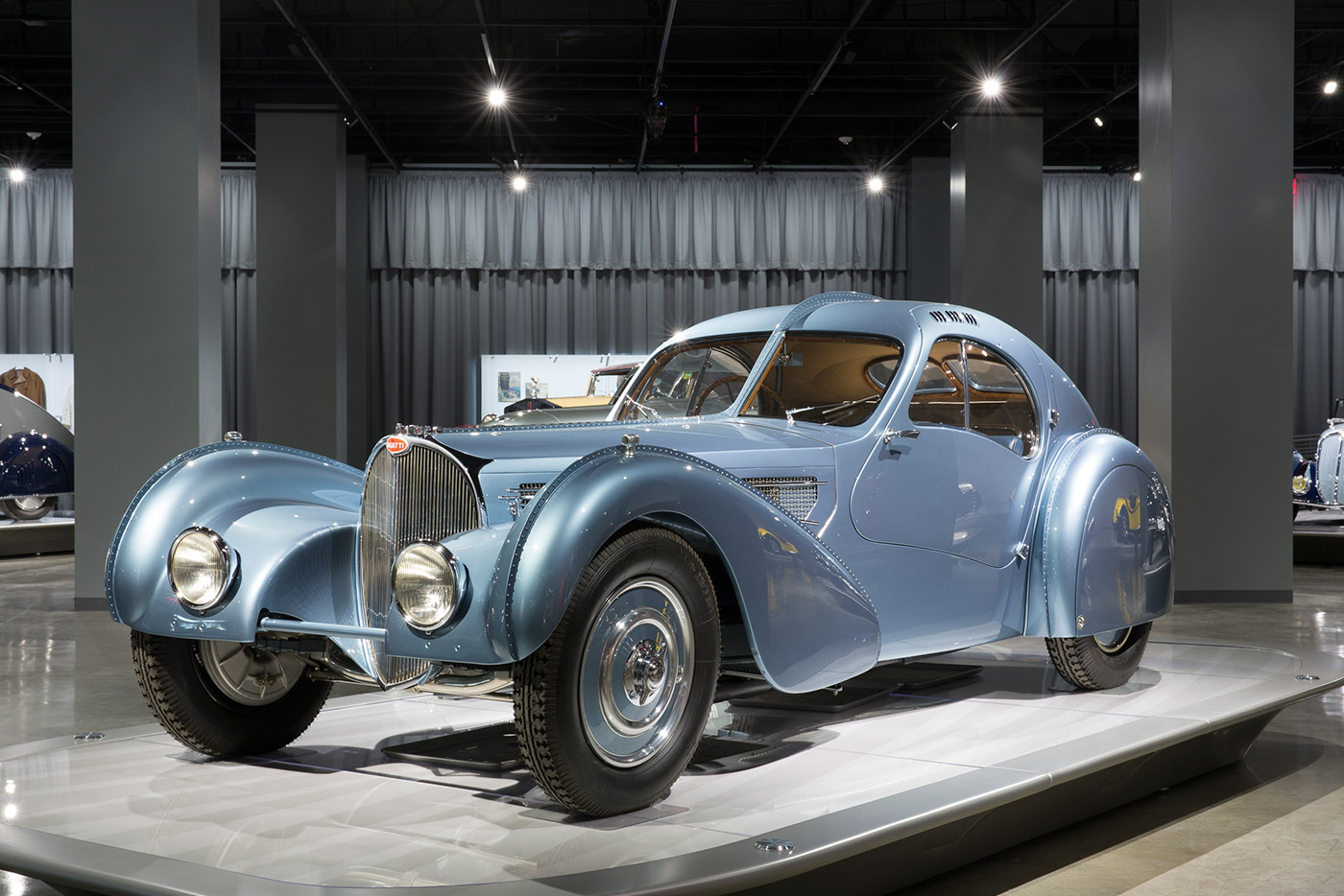 "1936 Bugatti Type 57SC Atlantic Coupe: The Petersen has this sculptural piece on their ""Artistry"" floor—Ralph Lauren owns the only other model on Earth"