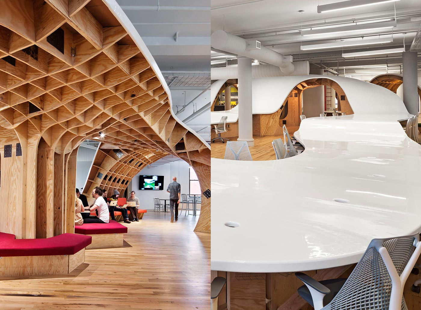 <strong>THE BARBARIAN GROUP: NEW YORK CITY |</strong> This marketing firm&#x2019;s office is ruled by a flowing plywood-and-resin sculpture that twists and turns to create workspaces, shelving units, and a cavernous meeting space