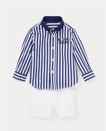 Blue-and-white striped button-down long-sleeve shirt.