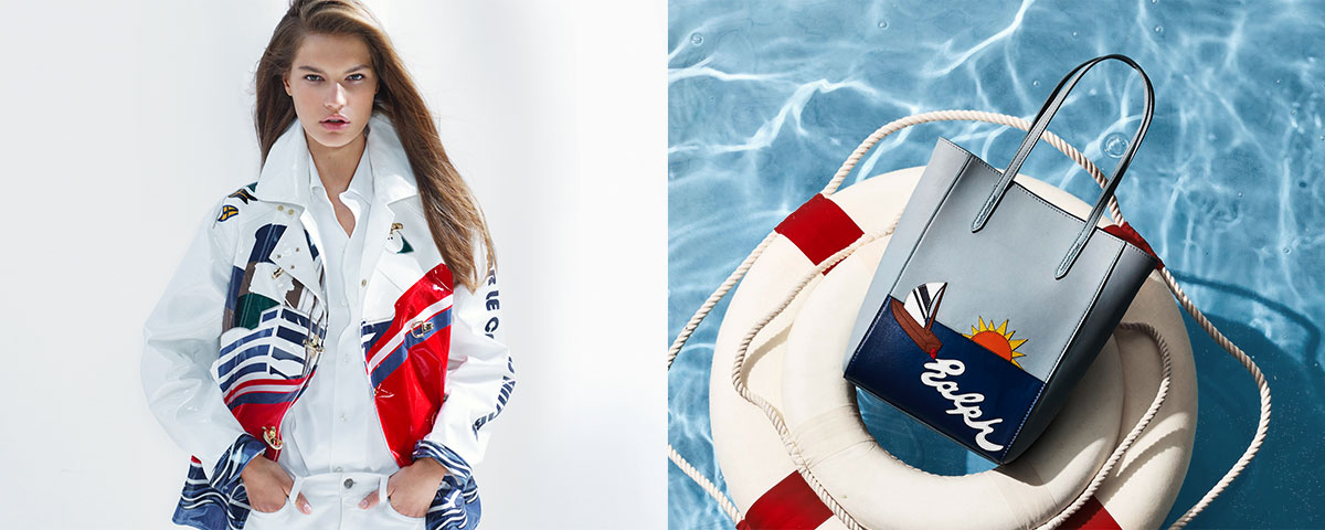 Woman in jacket with allover yacht graphic & sailboat tote bag