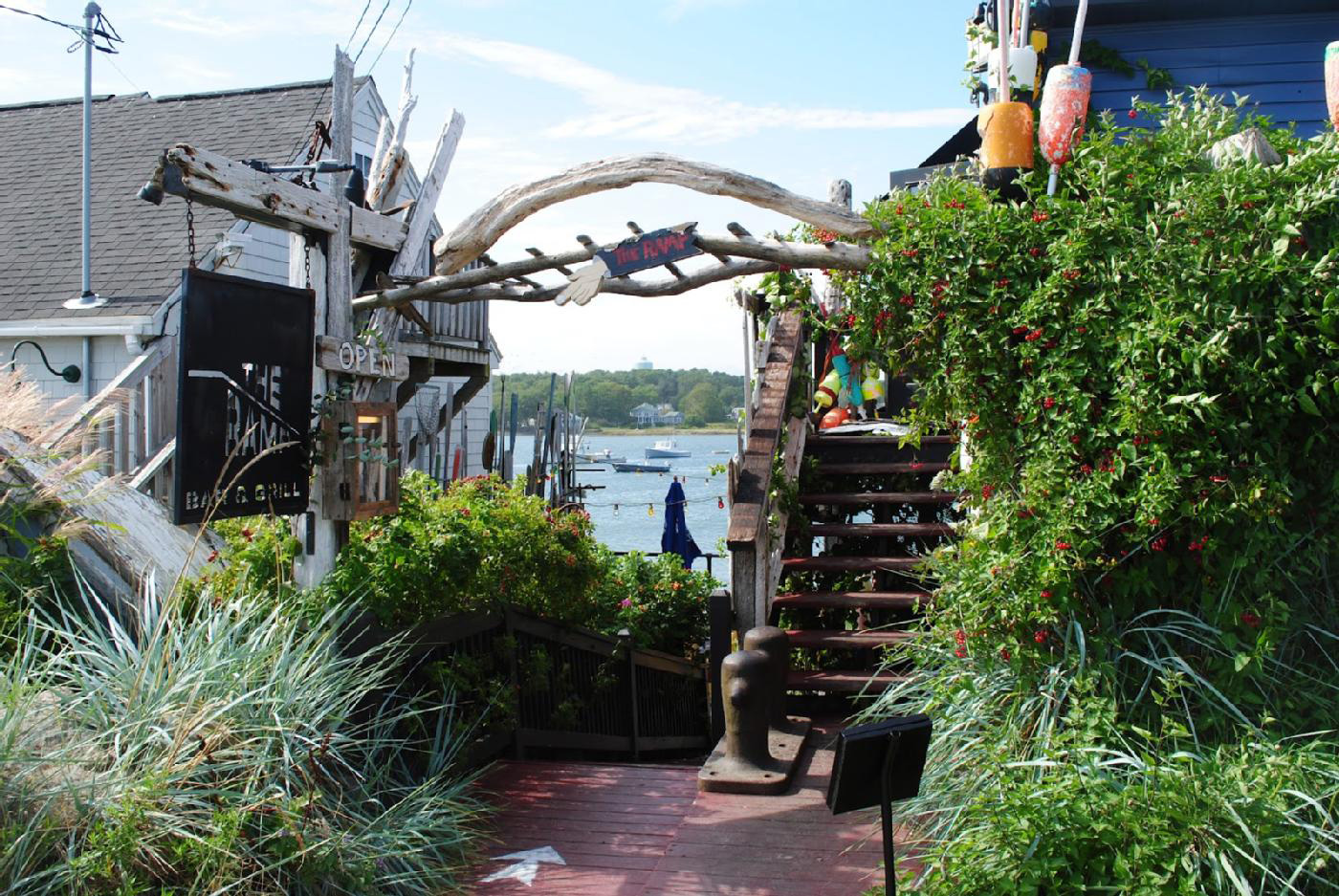 Pier 77 Restaurant / The Ramp Bar & Grill offers sweeping views of Cape Porpoise Harbor, both from its upstairs dining room and the waterfront patio below