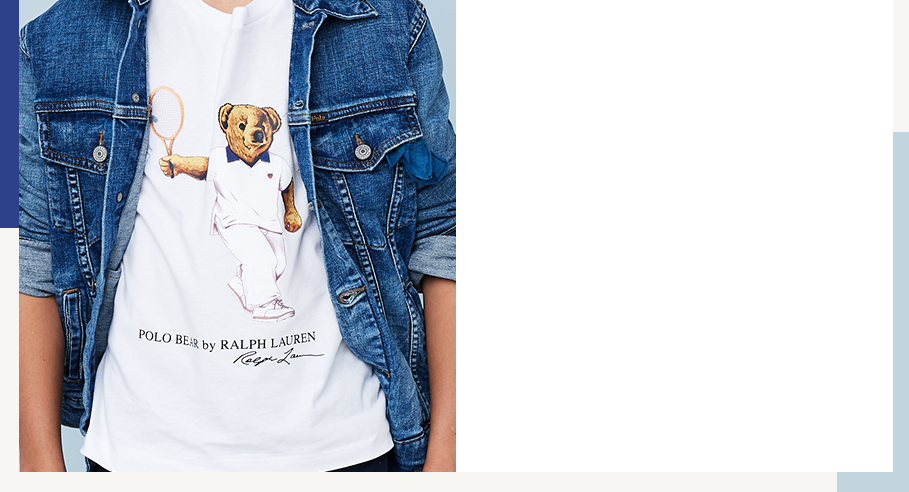 Close-up of Tennis Bear tee under denim jacket.