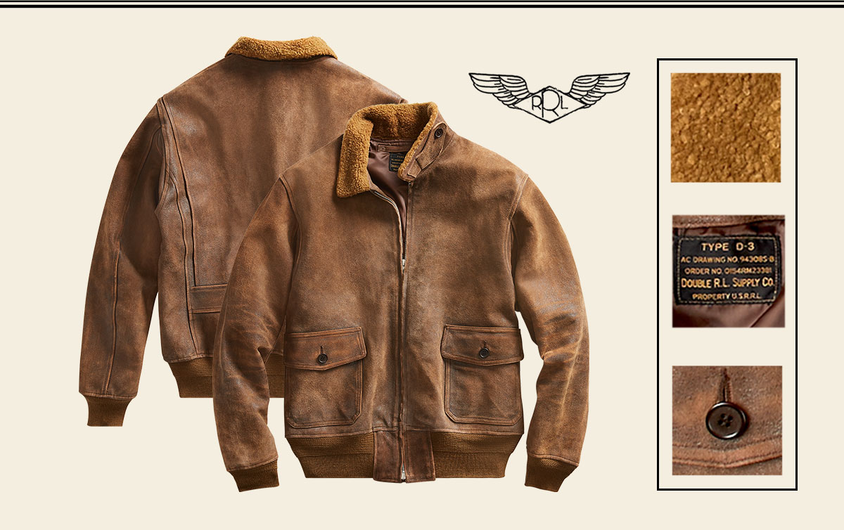 18fbb717df7e ... Weathered brown shearling bomber jacket