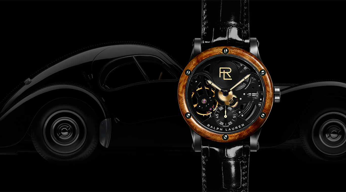 Skeleton watch with burl wood bezel and exposed movement