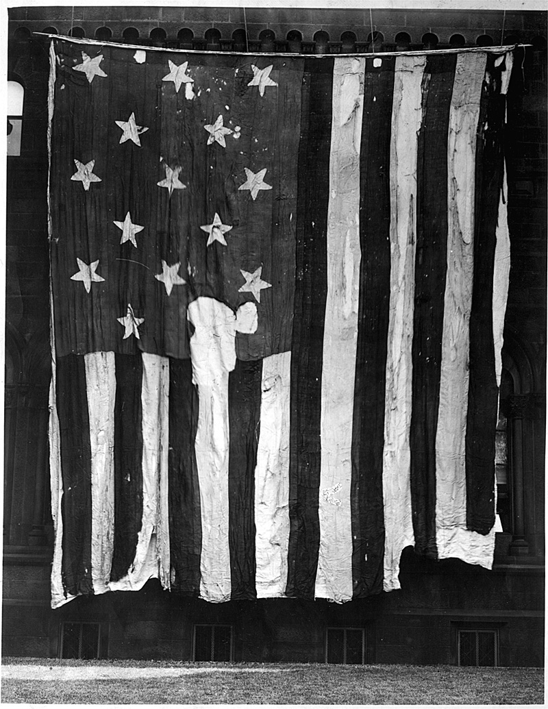 The Star-Spangeld Banner on the day that it arrived at the Smithsonian in July 1907