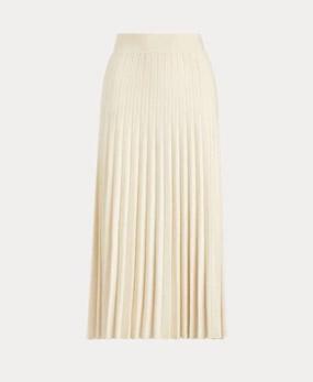 Pleated Merino Wool Midi Skirt