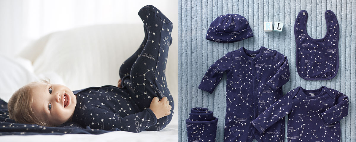 Baby wears constellation-print one-piece; gift set with constellation-print pieces.
