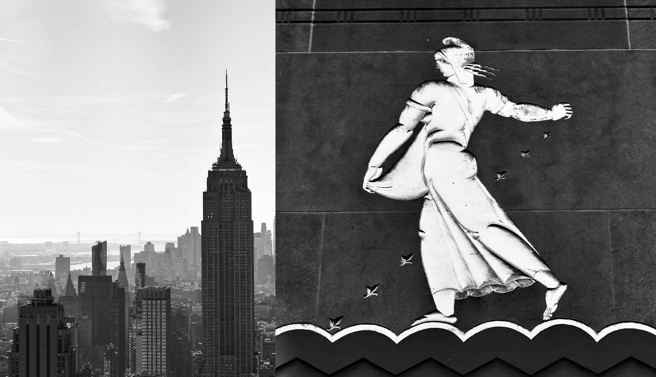 Left: The Empire State Building. Right: an Art Deco relief at Rockefeller Center