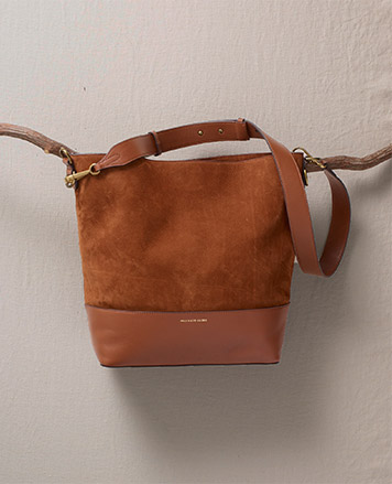 Brown suede tote bag with leather bottom
