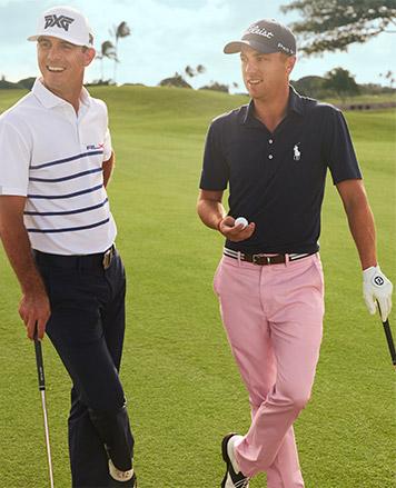 Billy Horschel in black pants & Justin Thomas in pink pants